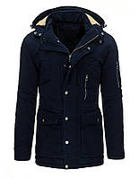 Куртка парка мужская зимняя большого размера со съёмным капюшоном темно-синий  xxXL