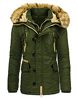 Куртка парка мужская зимняя удлиненная с капюшоном со съёмным мехом и съёмным воротником оливковый  XXL
