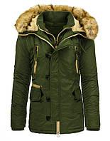 Удлиненная куртка парка мужская зимняя с капюшоном со съёмным мехом оливковый  xxXL