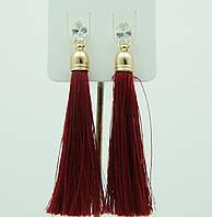 Бордовые сережки, серьги кисти цвета бордо 2211