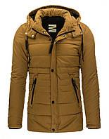 Мужская мягкая и теплая зимняя удлиненная куртка с капюшоном горчичный M
