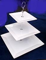 Этажерка керам. 3-х ярусная (квадратная)
