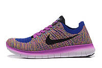 Кроссовки женские Nike Free Run Flyknit 5.0 Bleu Et Rouge