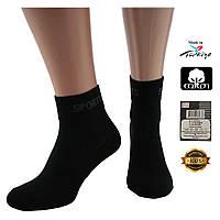 Носки мужские хлопок короткие Sport черные с сеткой 200001