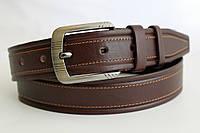 Кожаный ремень 40 мм коричневый прошитый светло-коричневой ниткой пряжка классическая матовая