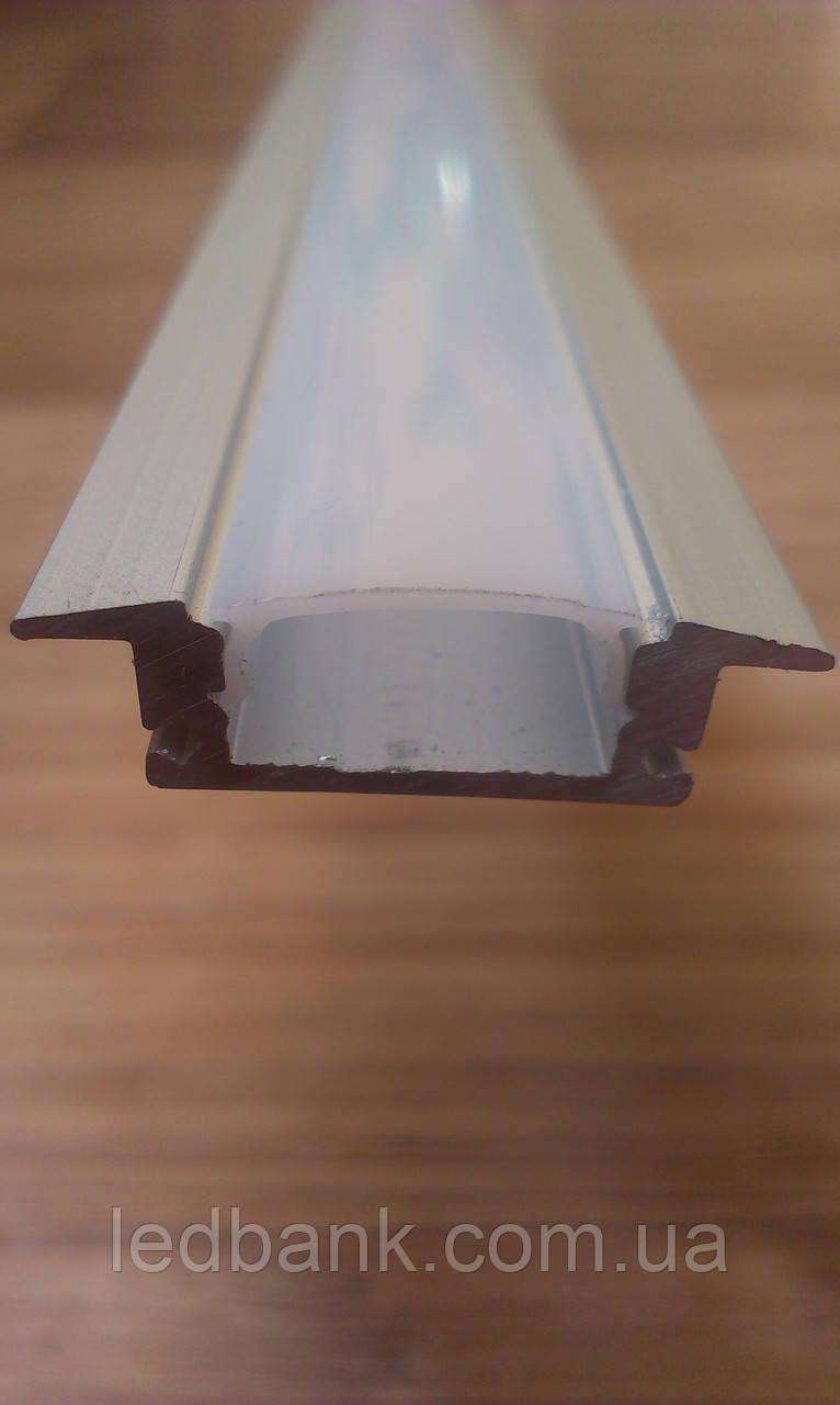 Алюминиевый профиль для светодиодной ленты врезной c рассеивателем LED-02