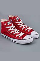 Женские кеды Converse All Star красные высокие (Реплика ААА+), фото 1