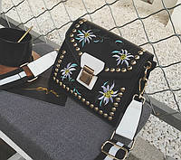 Новинка! Модная женская сумка с вышивкой BALLY Grimoire черного цвета, фото 1