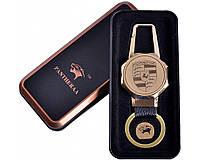 Спиральная USB зажигалка-брелок Porsche №4687А, с фонариком, всегда пригодится, подарочная упаковка, стильно