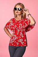 Красная блуза в бабочки