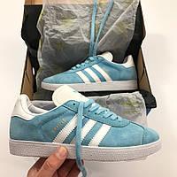 Жіночі кеди Adidas gazelle sky blue. Живе фото. Топ якість! (Репліка ААА+), фото 1