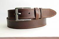 Кожаный ремень 40 мм коричневый прошитый двойной коричневой ниткой пряжка матовая