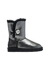 Натуральные угги UGG Australia (Угги Оригинал) UGG Bailey Button I DO! Black. Живое фото