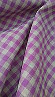 Льняная скатертная ткань, в фиолетовую клетку, Italian pizzeria , фото 1