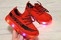 Текстильнве кроссовки с LED подошвой