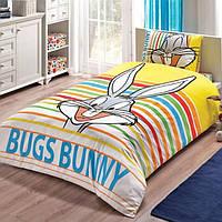 Детское подростковое постельное белье TAC Disney Bugs Bunny Stripe Ранфорс