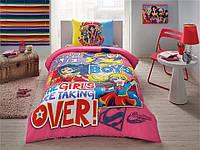 Детское подростковое постельное белье TAC Disney Super Hero Girls Ранфорс