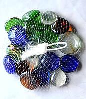 Камни для декора круглые плоские большие цветные 2,5х1 см