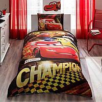 Детское подростковое постельное белье TAC Disney Cars Champions Ранфорс