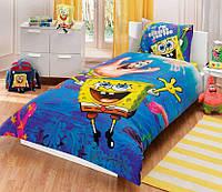 Детское подростковое постельное белье TAC Disney Sponge Bob Underwater Ранфорс