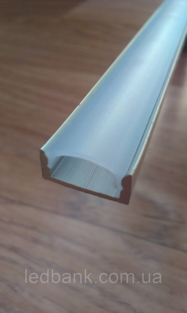 Алюминиевый профиль для светодиодной ленты накладной не анодированный + рассеиватель матовый или прозрачный
