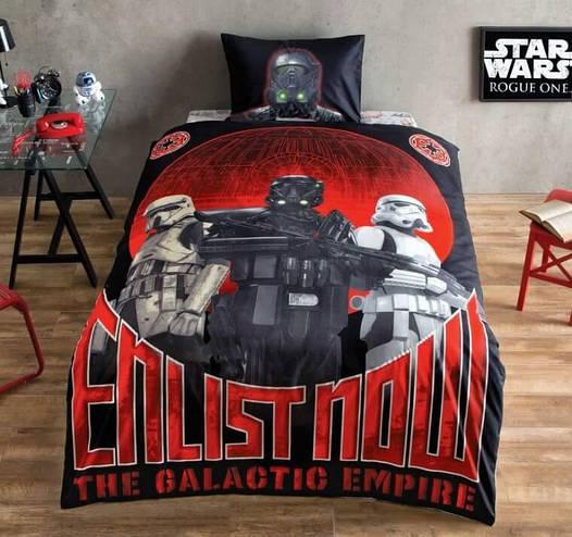 Детское подростковое постельное белье TAC Disney Star Wars Glow Ранфорс светящееся