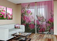 """ФотоТюль """"Бабочки и розовые розы"""" (2,5м*1,50м, карниз 1,0м)"""