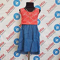 Сарафан на девочку комбинирован джинс с гипюром   FRANCE, фото 1