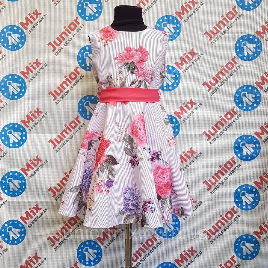 Нарядное платье на девочку в цветы под пояс оптом SNEKE. ПОЛЬША