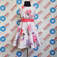 Нарядное платье на девочку в цветы под пояс оптом SNEKE. ПОЛЬША, фото 1
