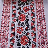Вафельная ткань украинским орнаментом с розами, ширина 40 см