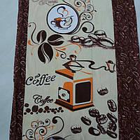 Вафельная ткань с кофе и кофемолкой молочная с коричневым, ширина 40 см