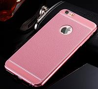 Чехол силиконовый розовый под Кожу+розовый ободок для iPhone 6/6S