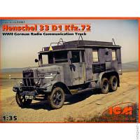 Наземная Модель ICM Германский автомобиль радиосвязи ІІ МВ Henschel 33 D1 Kfz.72 (ICM35467)
