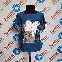 Джинсовая туника на девочку с вышивкой B.B.W.Kids