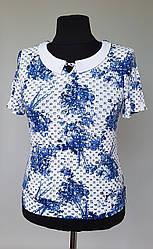 Женская летняя блузка с отложным воротником и короткими рукавами