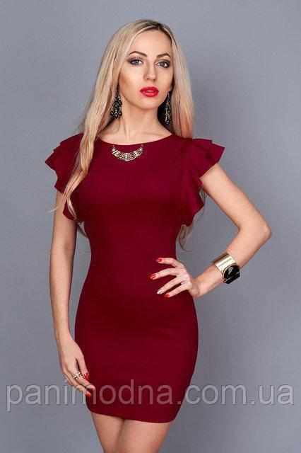 """Нарядное платье цвета бордо с красивой спинкой - """"Джой"""" код 241"""
