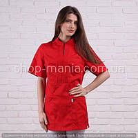 Женская медицинская блуза красного цвета SM 1007-1 Мико