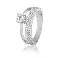 Серебряное двойное кольцо с белыми фианитами