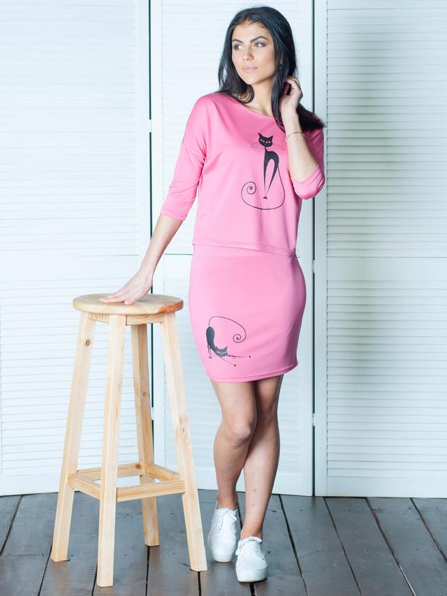 Летний молодежный женский костюм Кэт розовый  продажа 1f6ff7d6cbf4c