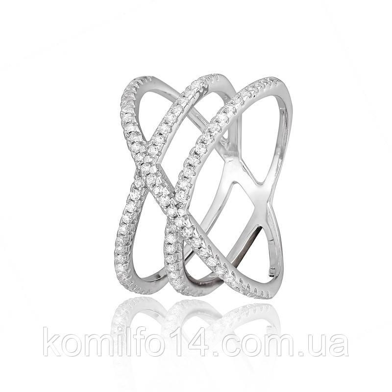 Серебряное кольцо с россыпью белых фианитов