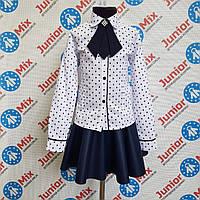 Школьная блузка на девочку в сердечки со съёмным жабо  TERKO