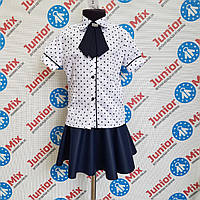 Школьная блузка на девочку на короткий рукав со съёмным жабо  Tonasz , фото 1