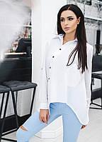 """Асимметричная женская хлопковая рубашка """"Antouan"""" с карманом и длинным рукавом (2 цвета)"""