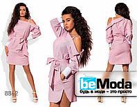 Стильное женское платье с оригинальным вырезом декольте розовое