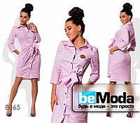 Модное женское платье-халат из коттона в мелкий горох розовое