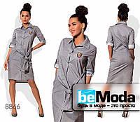 Модное женское платье-халат из коттона в мелкий горох серое