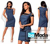 Оригинальное женское платье необычного кроя из джинса в мелкий горох синее