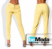 Классические женские коттоновые брюки со стрелками желтые