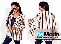 Удобный женский пиджак без подклада из костюмки в оригинальную полоску розовый